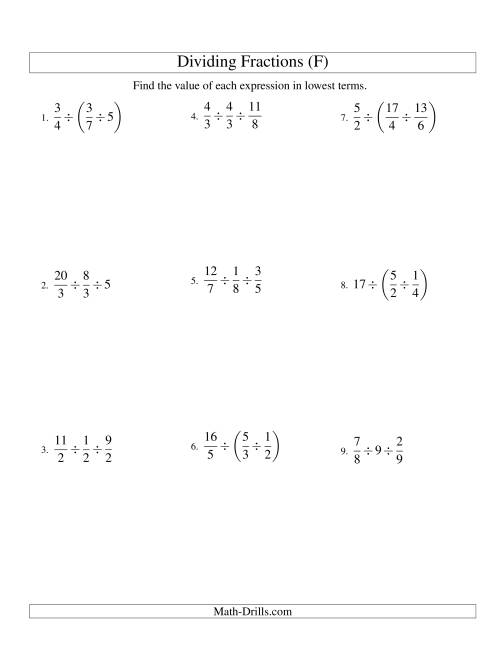 The Dividing and Simplifying Fractions with Some Whole Numbers and Three Terms (F) Math Worksheet