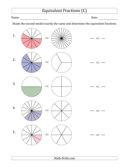 The Equivalent Fractions Models (C) Math Worksheet