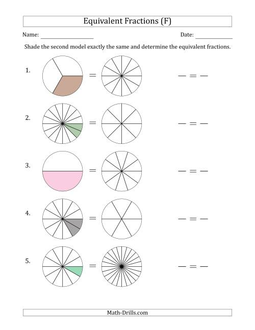 The Equivalent Fractions Models (F) Math Worksheet