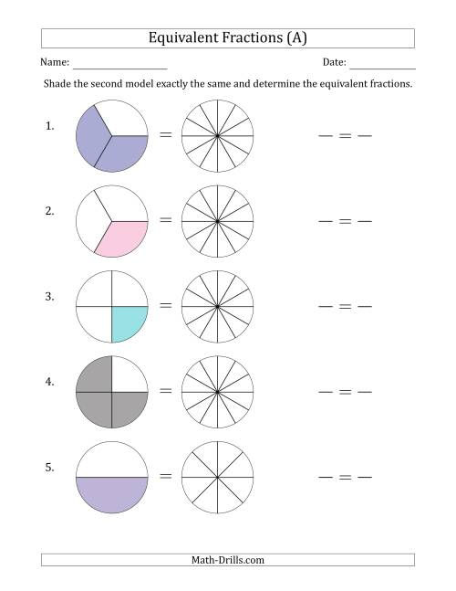 Equivalent Fractions Models with the Simplified Fraction First A – Fraction Model Worksheets