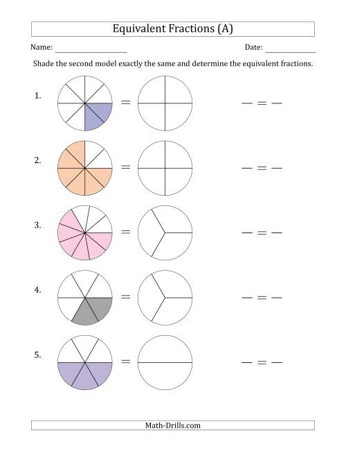 The Equivalent Fractions Models with the Simplified Fraction Second (A) Math Worksheet