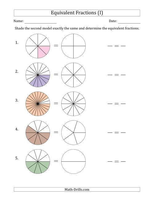 The Equivalent Fractions Models with the Simplified Fraction Second (I) Math Worksheet