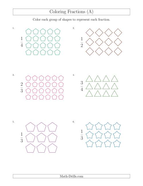 The Coloring Groups of Shapes to Represent Fractions (A) Math Worksheet