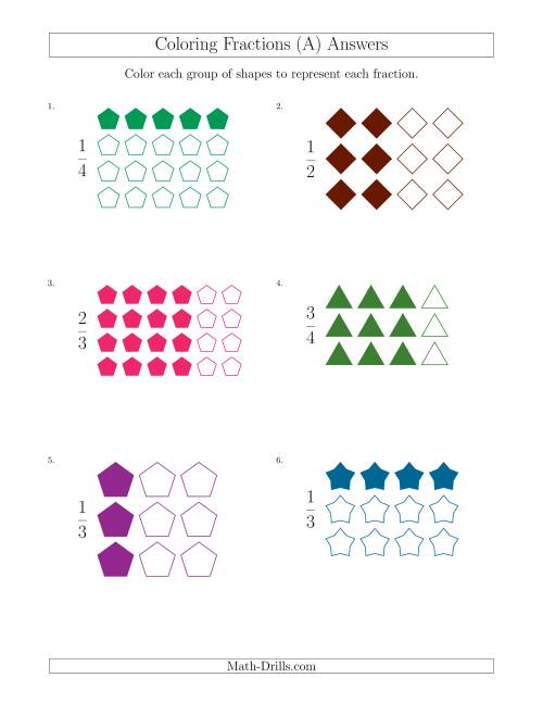 The Coloring Groups of Shapes to Represent Fractions (A) Math Worksheet Page 2