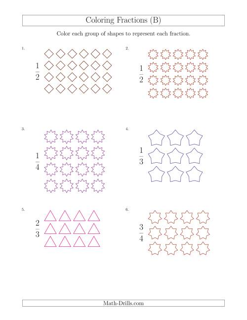 The Coloring Groups of Shapes to Represent Fractions (B) Math Worksheet