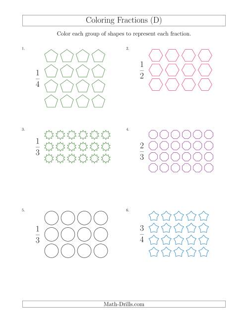 Coloring Groups of Shapes to Represent Fractions (D) Math