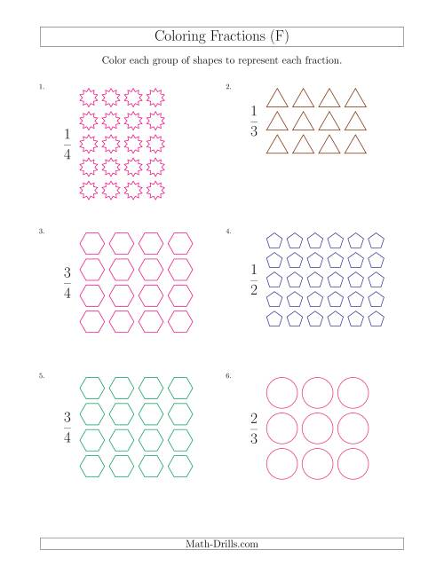 The Coloring Groups of Shapes to Represent Fractions (F) Math Worksheet