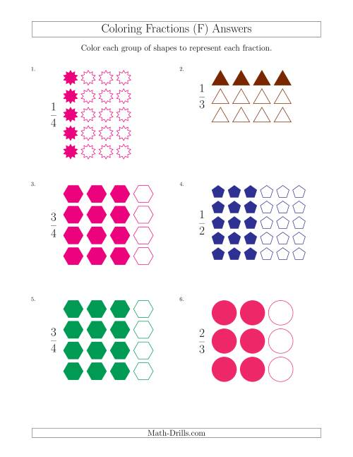 The Coloring Groups of Shapes to Represent Fractions (F) Math Worksheet Page 2