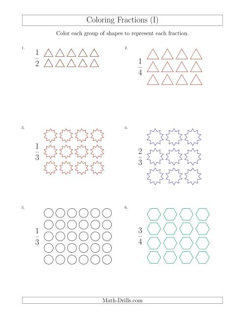 The Coloring Groups of Shapes to Represent Fractions (I) Math Worksheet