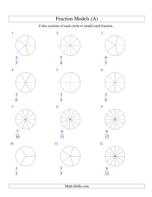 The Modeling Fractions with Circles by Coloring -- Halves to Twelfths (A) Math Worksheet