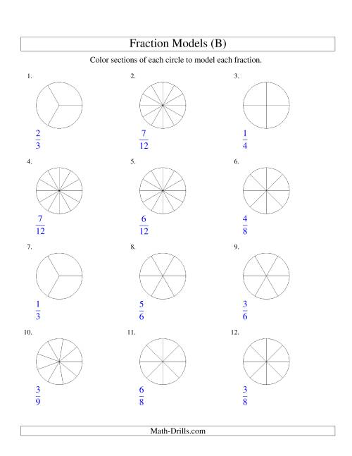 The Modeling Fractions with Circles by Coloring -- Halves to Twelfths (B) Math Worksheet