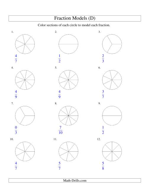The Modeling Fractions with Circles by Coloring -- Halves to Twelfths (D) Math Worksheet