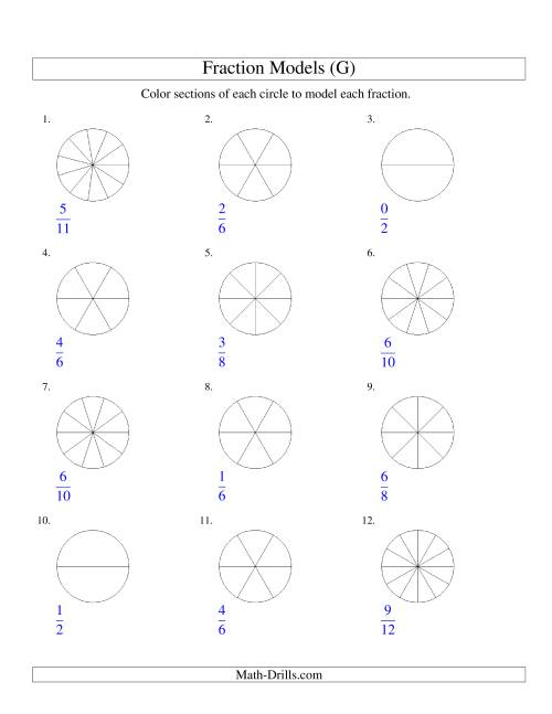 The Modeling Fractions with Circles by Coloring -- Halves to Twelfths (G) Math Worksheet