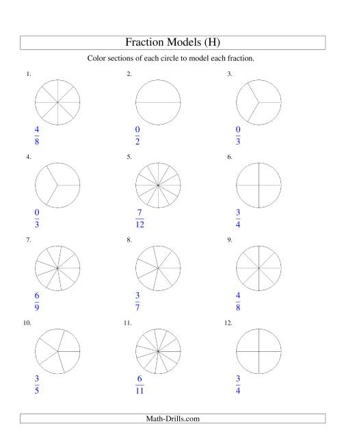The Modeling Fractions with Circles by Coloring -- Halves to Twelfths (H) Math Worksheet