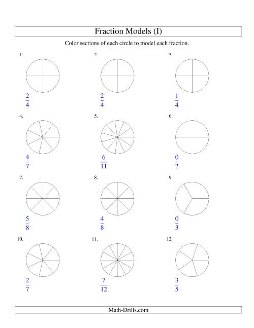 The Modeling Fractions with Circles by Coloring -- Halves to Twelfths (I) Math Worksheet
