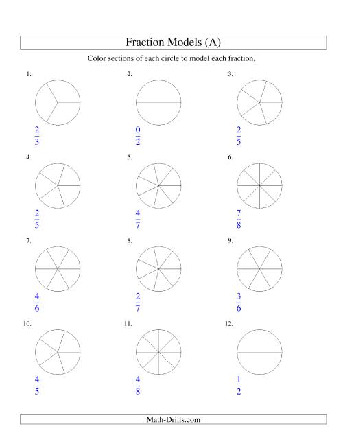 The Modeling Fractions with Circles by Coloring -- Halves to Eighths (A) Math Worksheet