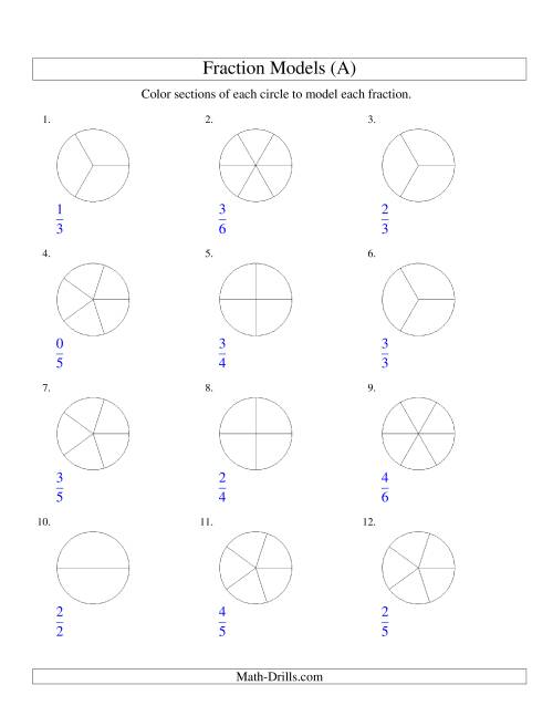 The Modeling Fractions with Circles by Coloring -- Halves to Sixths (A) Math Worksheet