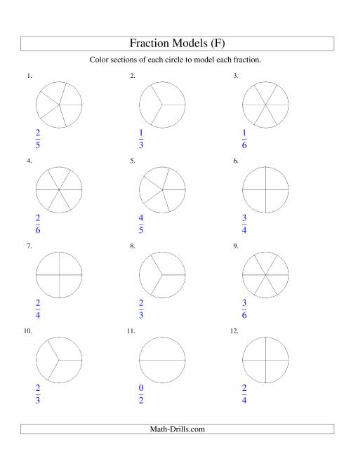 The Modeling Fractions with Circles by Coloring -- Halves to Sixths (F) Math Worksheet