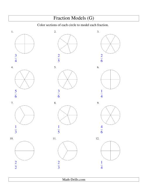 The Modeling Fractions with Circles by Coloring -- Halves to Sixths (G) Math Worksheet