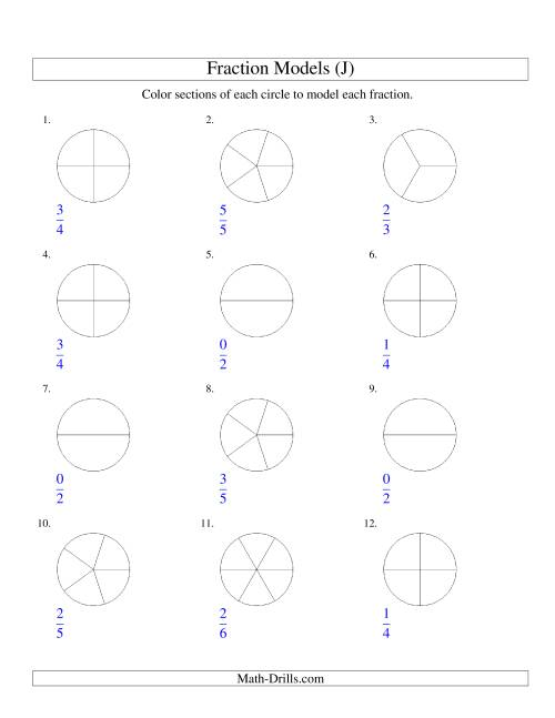 The Modeling Fractions with Circles by Coloring -- Halves to Sixths (J) Math Worksheet