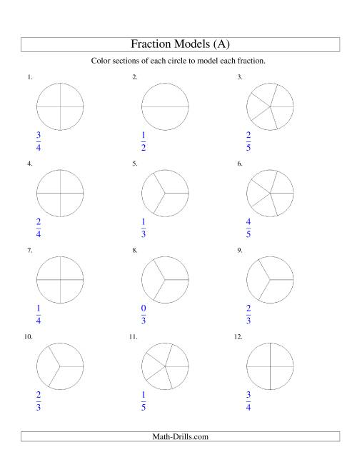 The Modeling Fractions with Circles by Coloring -- Halves to Fifths (A) Math Worksheet