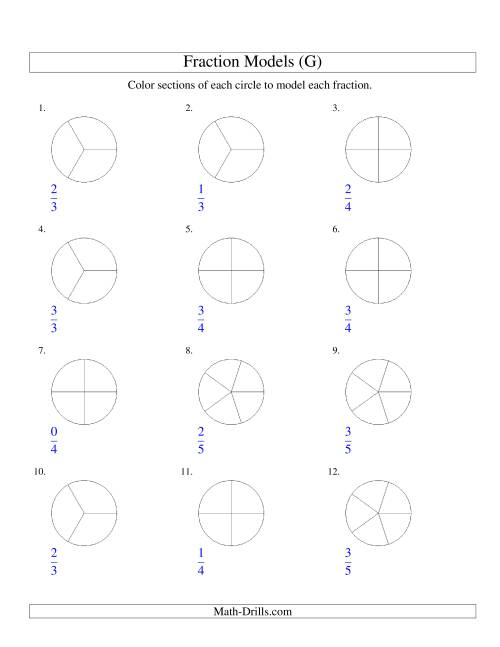 The Modeling Fractions with Circles by Coloring -- Halves to Fifths (G) Math Worksheet