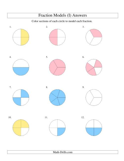 The Modeling Fractions with Circles by Coloring -- Halves to Fifths (I) Math Worksheet Page 2