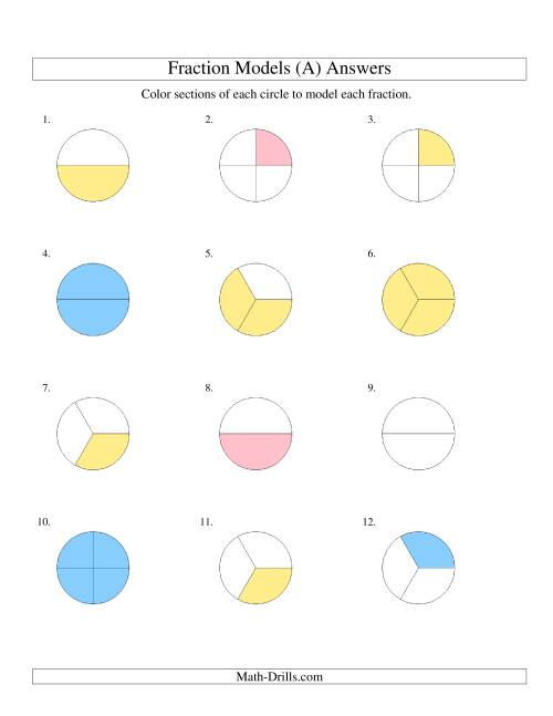 The Modeling Fractions with Circles by Coloring -- Halves,  Thirds and Quarters (A) Math Worksheet Page 2