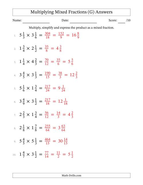 The Multiplying and Simplifying Mixed Fractions (G) Math Worksheet Page 2