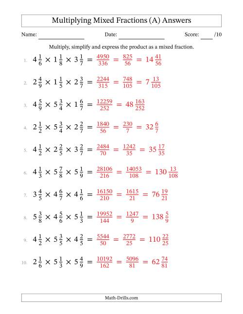 The Multiplying and Simplifying Mixed Fractions with Three Terms (A) Math Worksheet Page 2