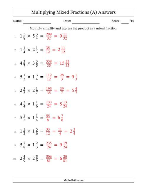 The Multiplying and Simplifying Mixed Fractions (All) Math Worksheet Page 2