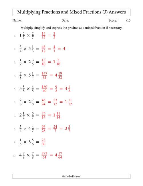 The Multiplying and Simplifying Fractions with Some Mixed Fractions (J) Math Worksheet Page 2