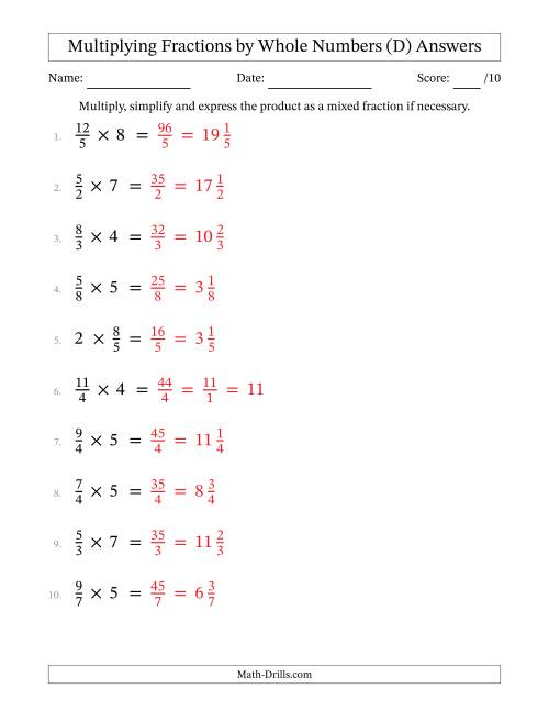 The Multiplying and Simplifying Fractions with Some Whole Numbers (D) Math Worksheet Page 2