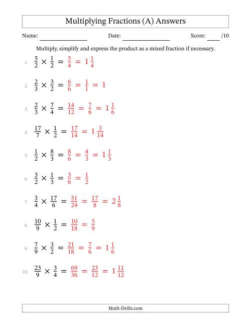Multiplying and Simplifying Proper and Improper Fractions (A)