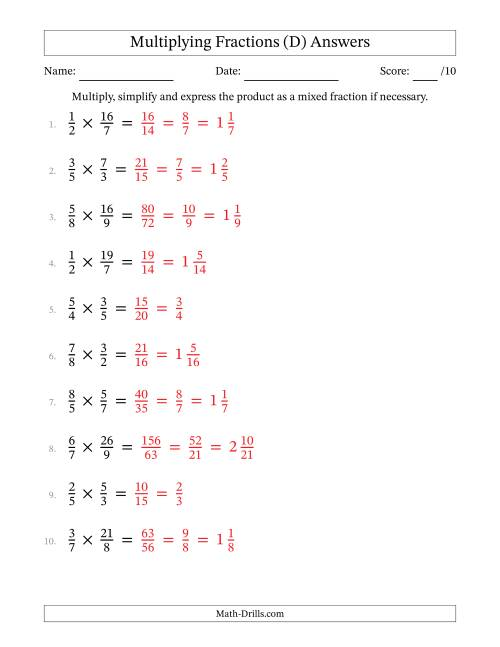 The Multiplying and Simplifying Proper and Improper Fractions (D) Math Worksheet Page 2
