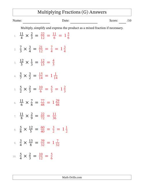 The Multiplying and Simplifying Proper and Improper Fractions (G) Math Worksheet Page 2