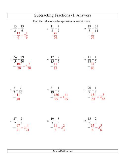 The Subtracting Fractions with Unlike Denominators and some Improper Fractions and Mixed Fraction Results (I) Math Worksheet Page 2