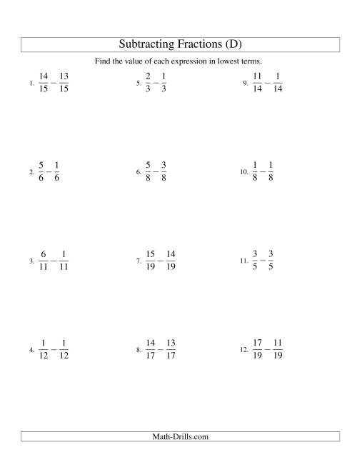 The Subtracting Fractions with Like Denominators (D) Math Worksheet