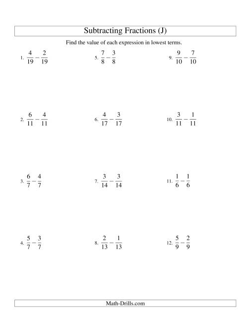The Subtracting Fractions with Like Denominators (J) Math Worksheet
