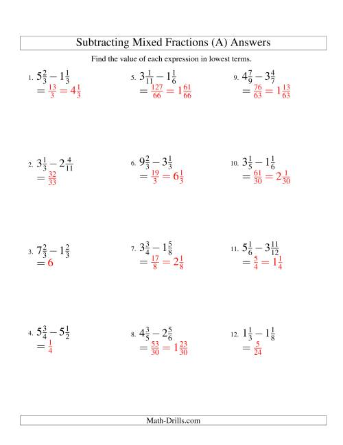 The Subtracting Mixed Fractions Easy Version (A) Math Worksheet Page 2