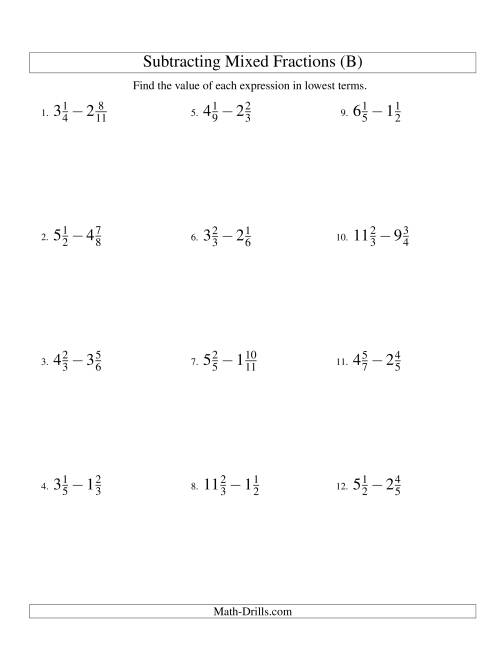 The Subtracting Mixed Fractions Easy Version (B) Math Worksheet