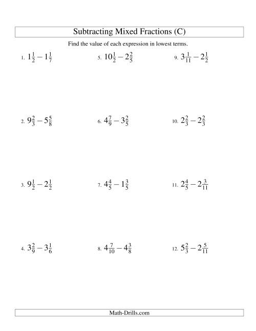 The Subtracting Mixed Fractions Easy Version (C) Math Worksheet