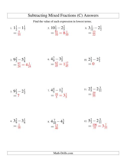 The Subtracting Mixed Fractions Easy Version (C) Math Worksheet Page 2