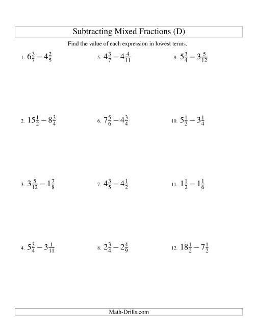 The Subtracting Mixed Fractions Easy Version (D) Math Worksheet