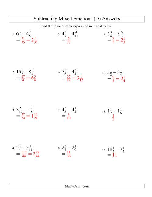 The Subtracting Mixed Fractions Easy Version (D) Math Worksheet Page 2