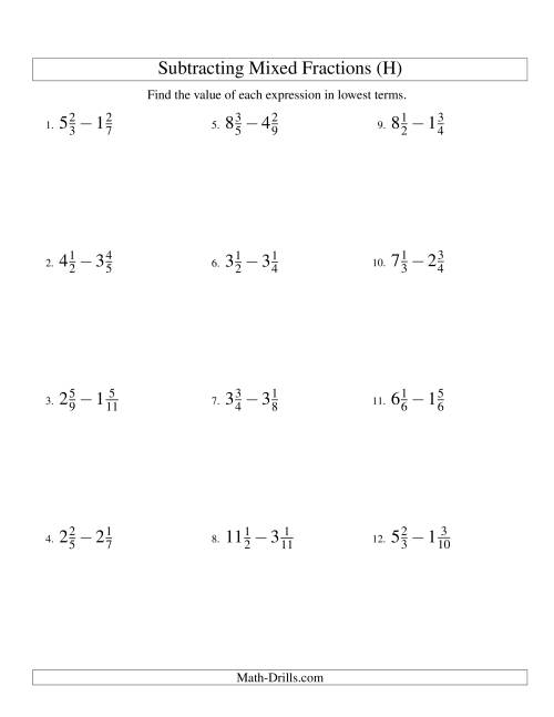 The Subtracting Mixed Fractions Easy Version (H) Math Worksheet