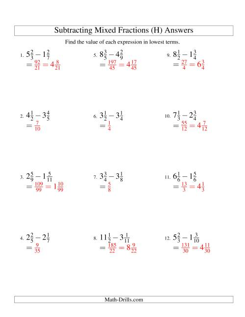 The Subtracting Mixed Fractions Easy Version (H) Math Worksheet Page 2