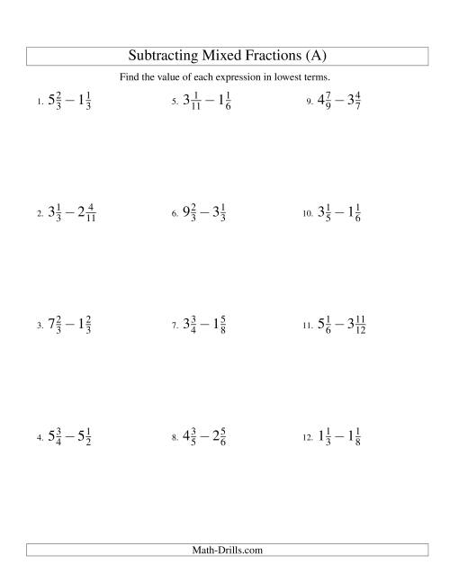 The Subtracting Mixed Fractions Easy Version (All) Math Worksheet