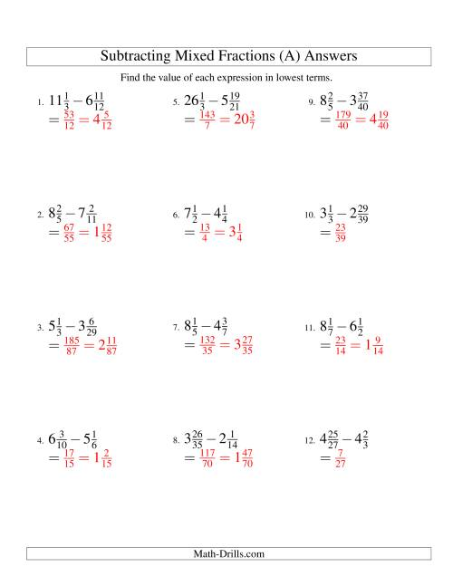 Subtracting Mixed Fractions Hard Version A