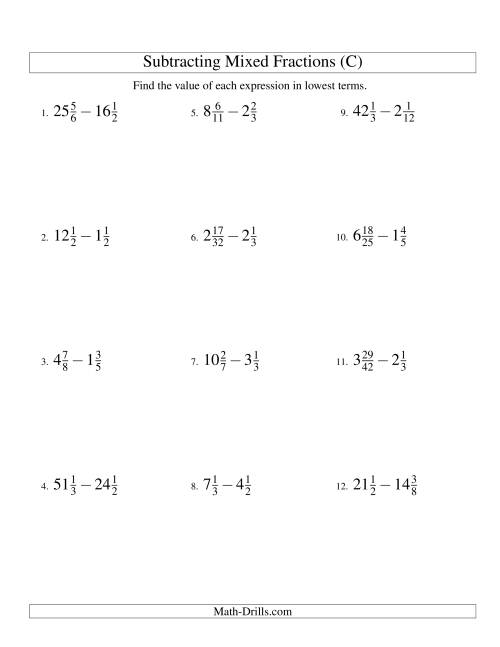The Subtracting Mixed Fractions Hard Version (C) Math Worksheet